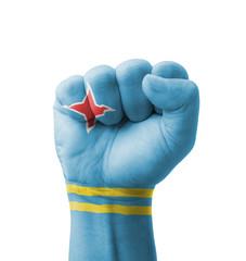 Fist of Aruba flag painted, multi purpose concept