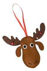 Handmade Christmas decorations: felt Christmas moose isolated