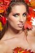 Autumn Woman portrait with creative  makeup