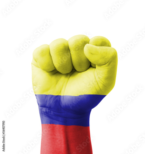 Fist of Colombia flag painted, multi purpose concept