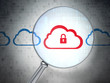 Cloud networking concept: Cloud With Padlock with optical glass