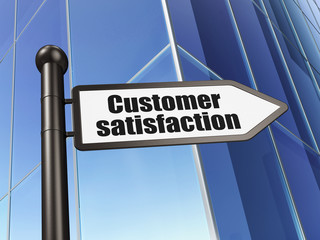 Marketing concept: Customer Satisfaction on Building background