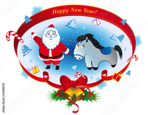 Santa Claus with a horse