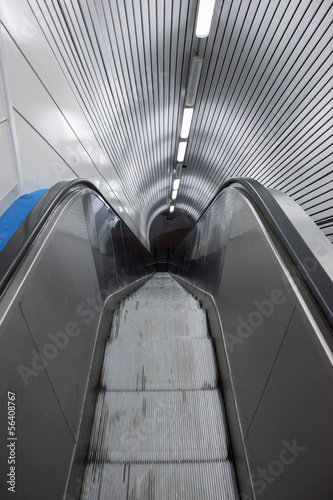 Top view of an escalator