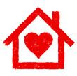 Rotes Haus mit Herz