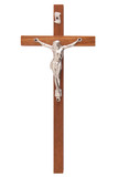 A wooden cross with Jesus isolated on white