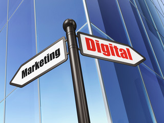 Advertising concept: Digital Marketing on Building background