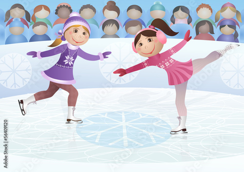 Figure skating. Vector illustration.