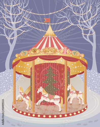 Holiday carousel with horses
