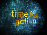 Timeline concept: Time for Action on digital background