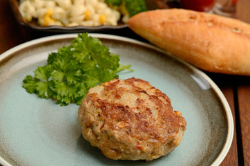 Burger with parsley