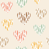 Seamless pattern with wild hearts