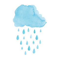 Watercolor rainy cloud