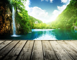 Fototapety waterfall in deep forest of croatia and wood pier