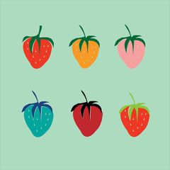 Strawberries in a pop art style. Vector.