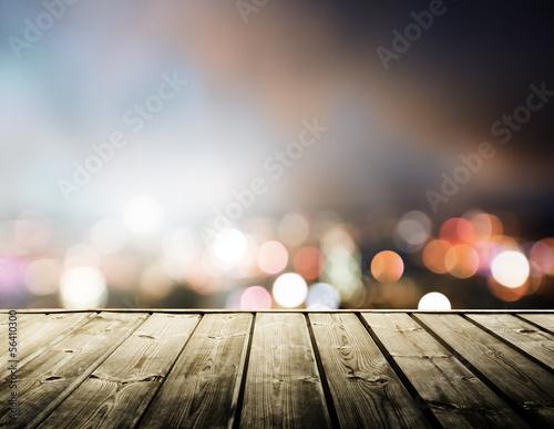wooden platform and lights of night Hong Kong