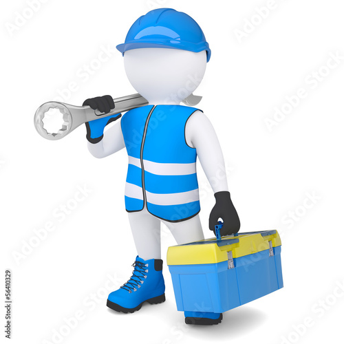 3d man with wrench and tool box
