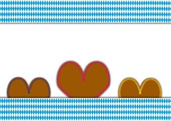 bayrisches Rautenmuster mit Lebkuchenherzen