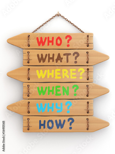 Concept. Signboards with questions