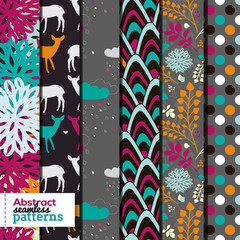 Set of six bright modern seamless patterns