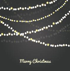 Holiday background with Christmas chain lights