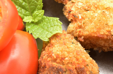 Detail of Croquettes, typical Tapa of Spanish Cuisine