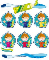 Cute little boy washing teeth