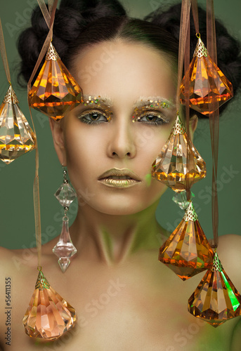 beauty portrait in glass pendants.