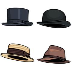 vector cartoon set of 4 hats