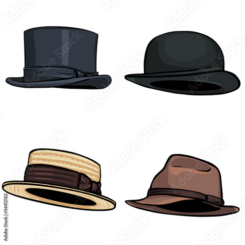vector cartoon set of 4 hats