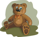Cute brown bear. Vector..