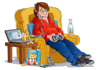 Teenage boy with games console