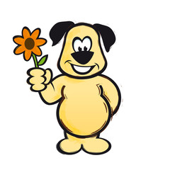 Hund mit Blume als Geschenk AI EPS PDF
