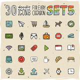 30 Colorful Doodle Icons Set 5