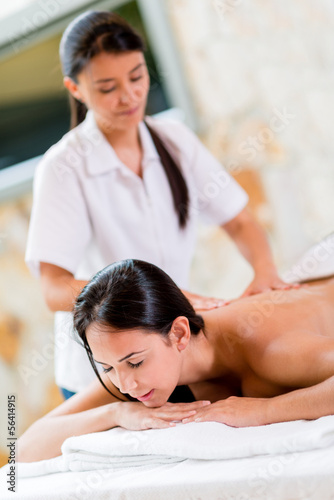 Woman relaxing at the spa
