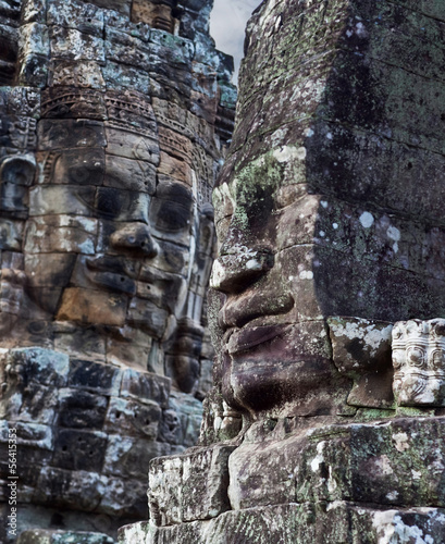 Ancient bas-relief at the Bayon temple