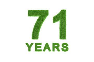 71 Years green grass anniversary number
