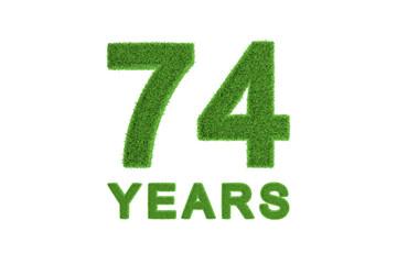 74 Years green grass anniversary number