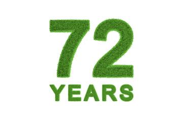 72 Years green grass anniversary number