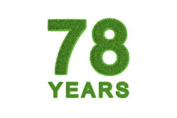 78 Years green grass anniversary number