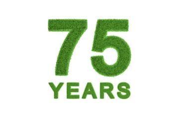 75 Years green grass anniversary number