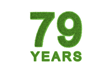 79 Years green grass anniversary number