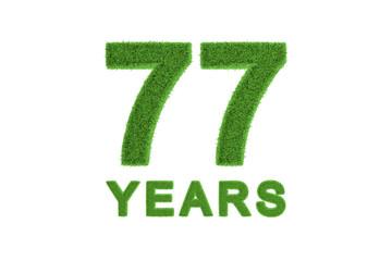 77 Years green grass anniversary number