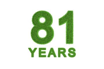 81 Years green grass anniversary number
