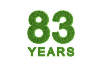 83 Years green grass anniversary number