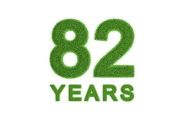 82 Years green grass anniversary number