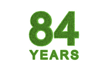84 Years green grass anniversary number