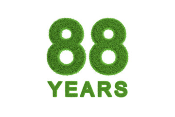 88 Years green grass anniversary number