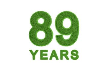 89 Years green grass anniversary number