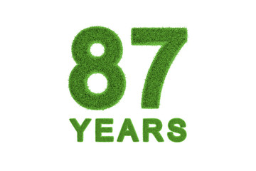 87 Years green grass anniversary number